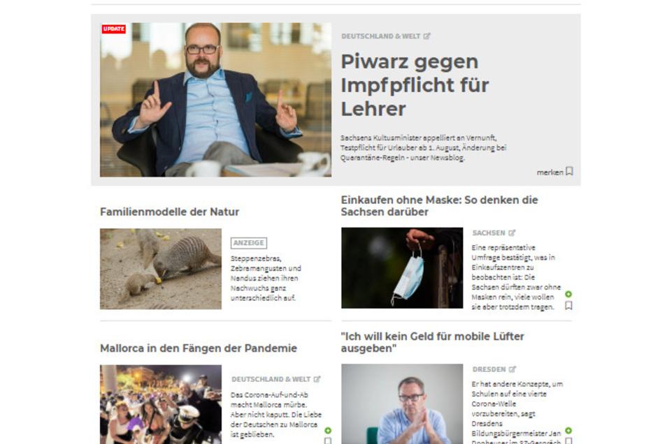 Die wichtigsten Themen auf Sächsische.de gibt es jetzt auf einen Blick. Auf dem Smartphone werden sie untereinander dargestellt.