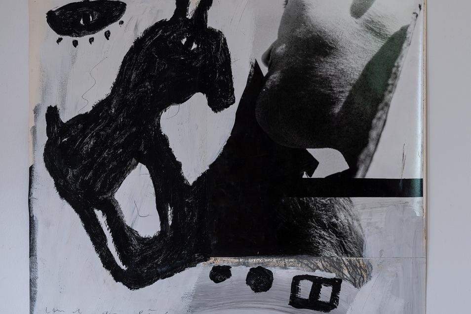 """""""Land des Lächelns"""", Fotoübermalung/Collage von Erich Wolfgang Hartzsch aus dem Jahr 1987."""