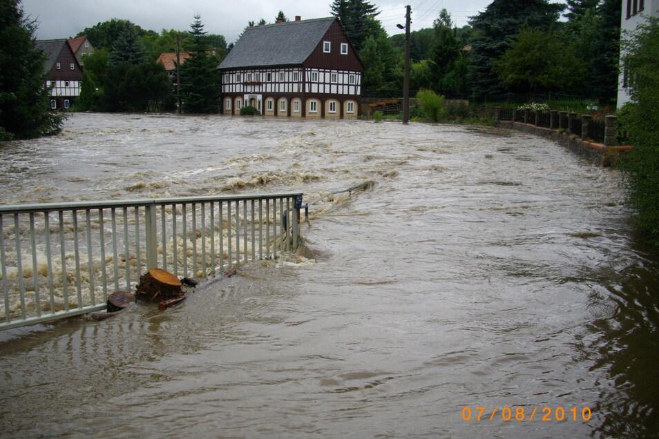 Hochwasser in Großschönau am 7.August 2010.