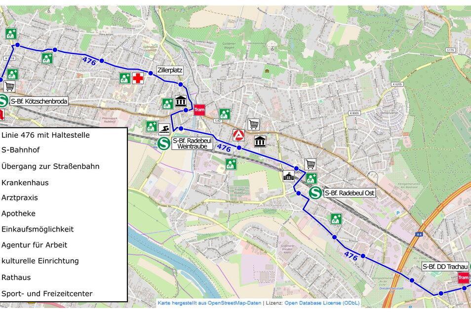 Die blaue Linie auf dem Stadtplan zeigt die Route des Quartierbusses durch Radebeul.