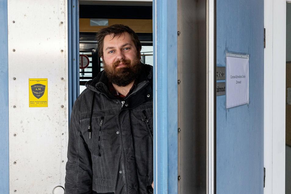 Markus Wiesenberg hat zwischen Freitag und Dienstagfrüh ein Testzentrum im ehemaligen Grenzzollhaus eingerichtet.