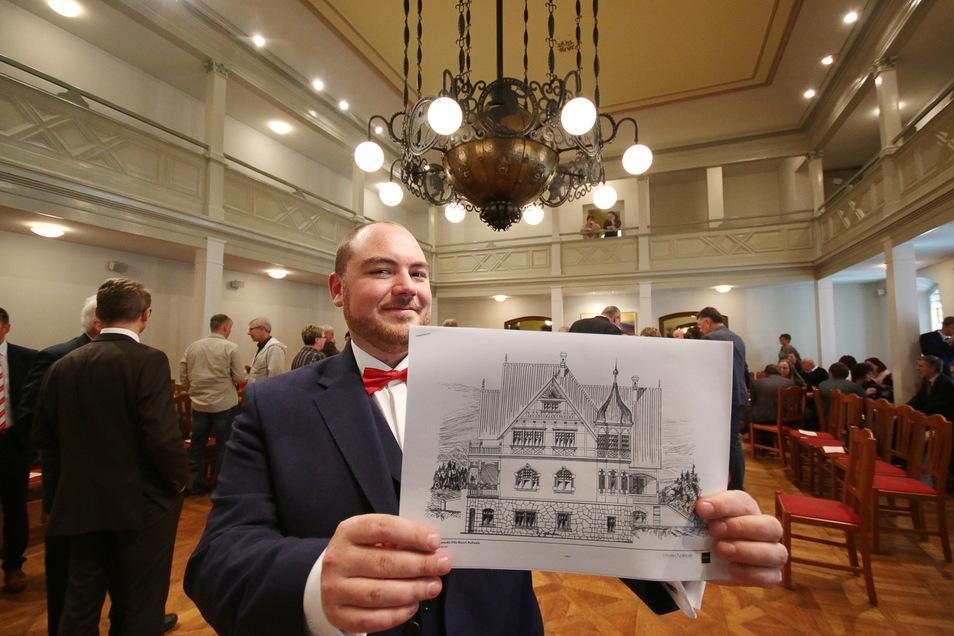 Beim Neujahrsempfang 2020 konnte Lukas Lomtscher, der Vorsitzende des am Sonntag gegründeten Fördervereins Villa Bauch, die Zukunftspläne für das Gründerzeithaus am Rande der Stadt Roßwein schon einmal vorstellen.