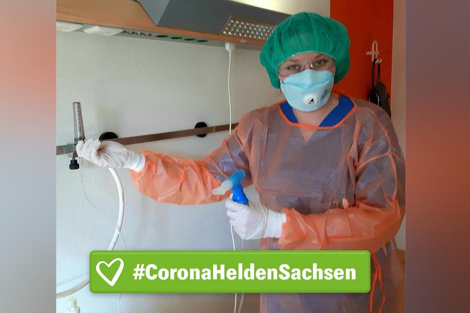 Eine Corona-Heldin: Krankenschwester Theresa Richter bei der Arbeit im städtischen Klinikum.