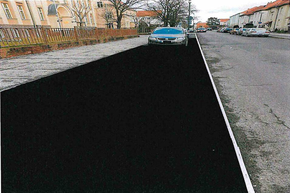 So könnte der Parkstreifen an der Diesterwegschule nach Abflachen der Bordsteine aussehen.
