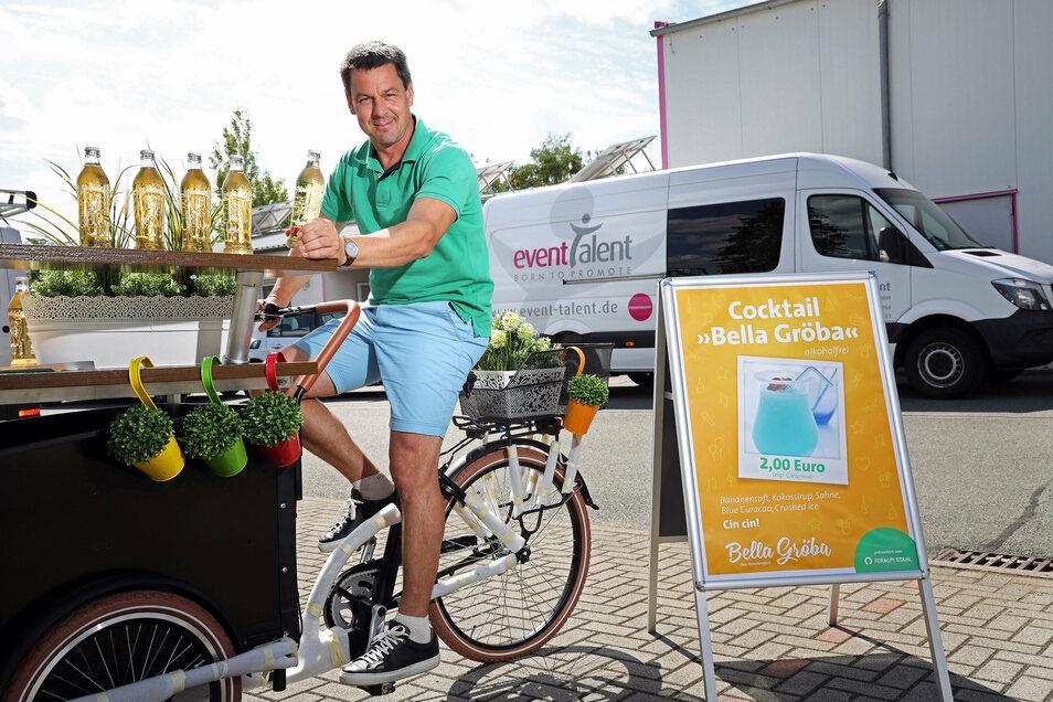 Torsten Pilz organisiert mit seiner Firma das Fest Bella Gröba. Bei der von Feralpi gesponserten Veranstaltung wird auch das Limonadenfahrrad unterwegs sein.