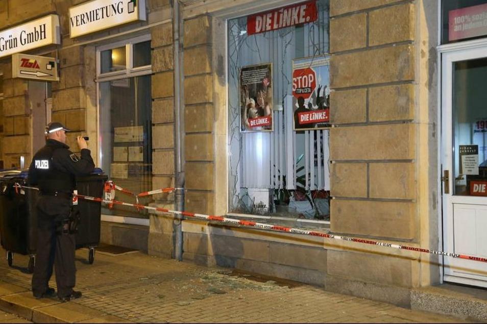 Am 20. September 2015 zerstörte die Gruppe Freital die Fensterscheibe des Büro der Linken auf der Dresdner Straße in Freital mit Sprengstoff.