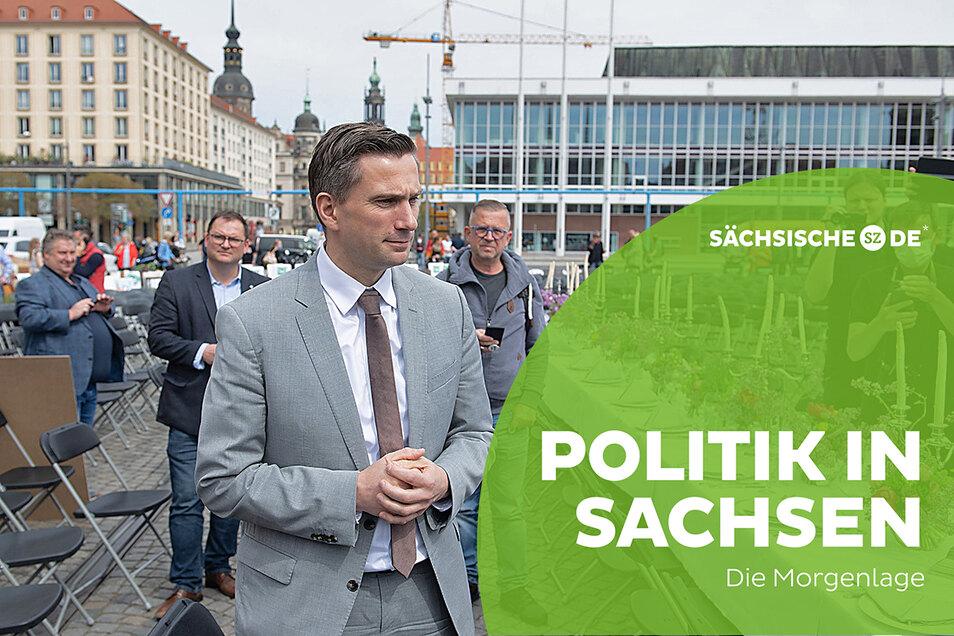 Wirtschaftsminister Martin Dulig (SPD) bei einer Protestaktion der Gastronomiebranche vor anderthalb Wochen in Dresden