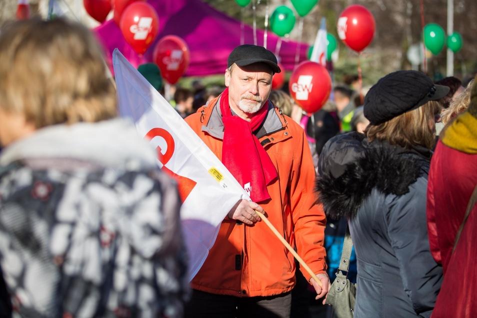 Mitten unter Tausenden Streikenden: Gerd Apelt