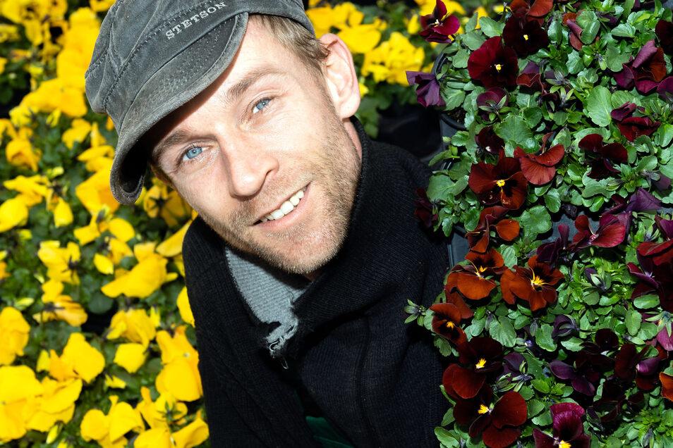 Daniel Rößler von der gleichnamigen Gärtnerei in Steinigtwolmsdorf konnte seine Frühblüher trotz Corona-Krise gut verkaufen. Nun hofft er, in den nächsten Wochen auch die Gemüse- und Zierpflanzen an die Kunden bringen zu können.