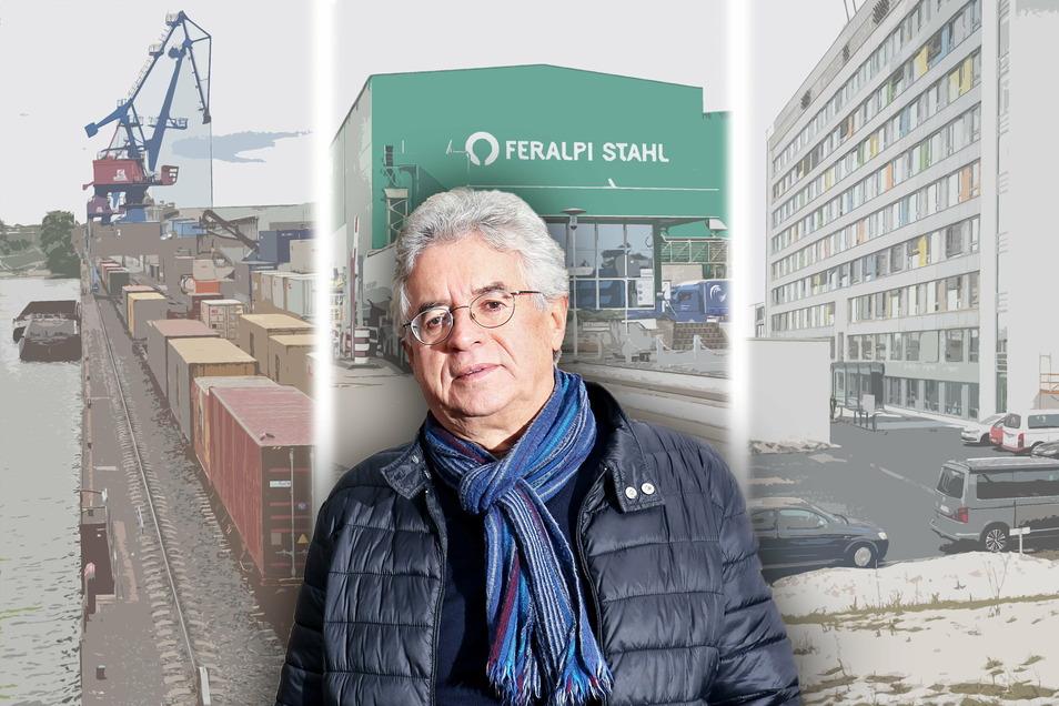 Hafen, Stahlwerk, Krankenhaus: Für den Sprecher des Riesaer Wirtschaftsforums Kurt Hähnichen gibt es Einiges in Riesa, dessen Entwicklung in den letzten Jahren Grund zur Zuversicht geben sollte.