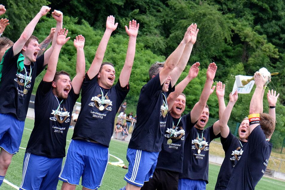 So jubelten die Spieler des LSV Tauscha nach dem Pokalsieg gegen TuS Weinböhla vor drei Jahren in Meißen. Am Sonntag wollen sie den Pott zum dritten Mal in vier Jahren gewinnen.
