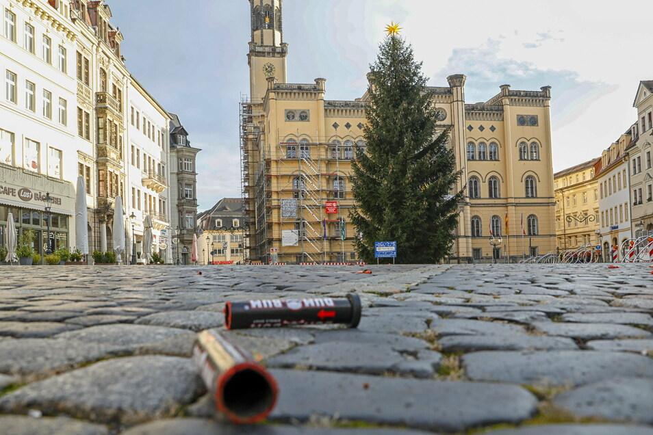Nach Silvester so sauber wie selten - der Zittauer Marktplatz.