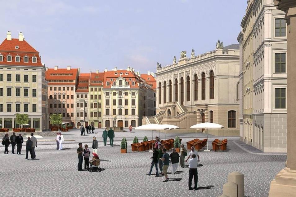 Es war das Jahr 1712, als Zwingerbaumeister Daniel Pöppelmann in Dresden die Fassade des Dinglinger Hauses gestaltete. Lange zählte es zu den wertvollsten Häusern am Neumarkt, bis es im Zweiten Weltkrieg zerstört wurde. Nun soll der Platz in seinem östlichen Teil wieder vollendet werden. Neben dem Johanneum (r) soll dann wieder das Dinglinger Haus stehen (Mitte).