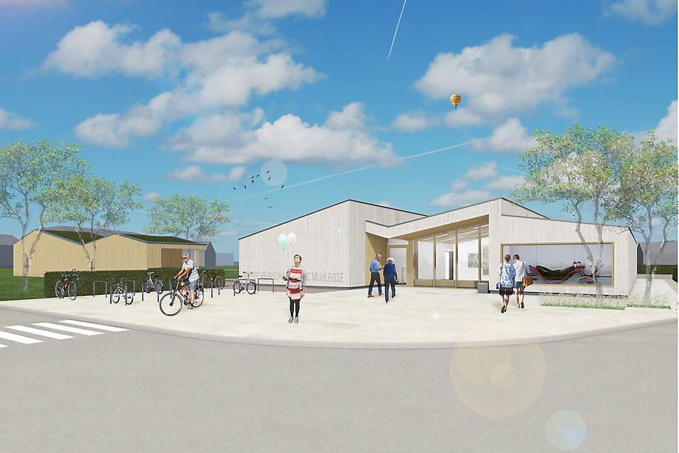 Wie ein Zweiseithof wird das neue Dorfgemeinschaftshaus mit dem rechtwinklig angeordneten Nebengebäude errichtet.