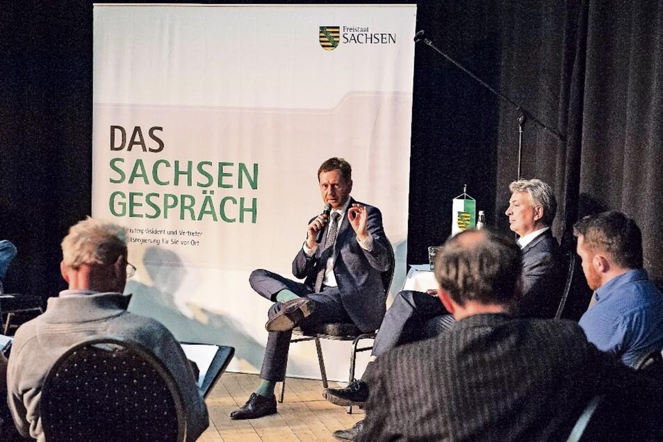 Eine gute Stunde lang beantwortete Ministerpräsident Michael Kretschmer die Fragen der Bürger.