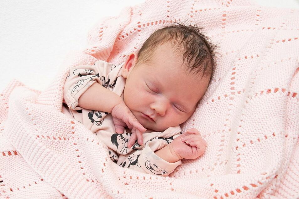 Flora Elisabeth, geboren am 15. Mai, Geburtsort: Universitätsklinikum Dresden, Gewicht: 2.660 Gramm, Größe: 48 Zentimeter, Eltern: Juliane Endler und Andreas Vogel, Wohnort: Dohna
