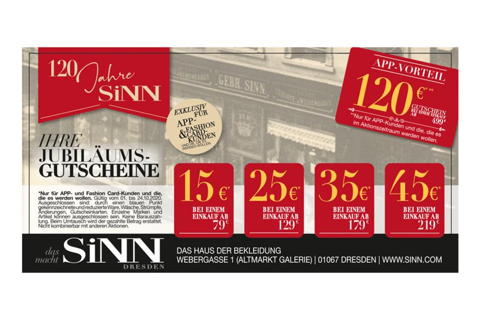 SiNN feiert im Oktober den 120. Geburtstag: Diese Jubiläumsgutscheine können in Kombination mit der SiNN APP beim Einkauf bei SiNN Dresden bis 24.10. eingelöst werden