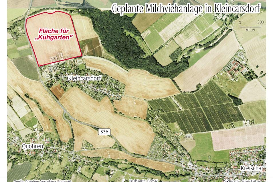 Auf dieser Fläche am Ortsrand von Kleincarsdorf soll der Stall samt großer Weide entstehen.