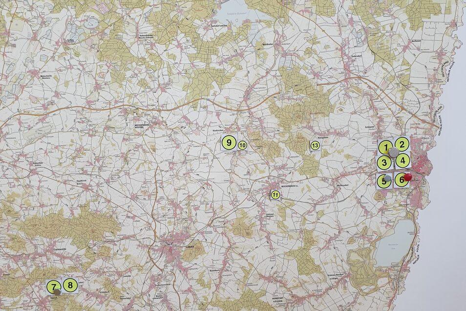 Auf dieser Karte markiert das Landratsamt die aktuellen Corona-Fälle im Landkreis Görlitz. Die Nummerierung entspricht nicht der zeitlichen Reihenfolge der Infizierungen. Nummer 12 ist in Weißwasser.