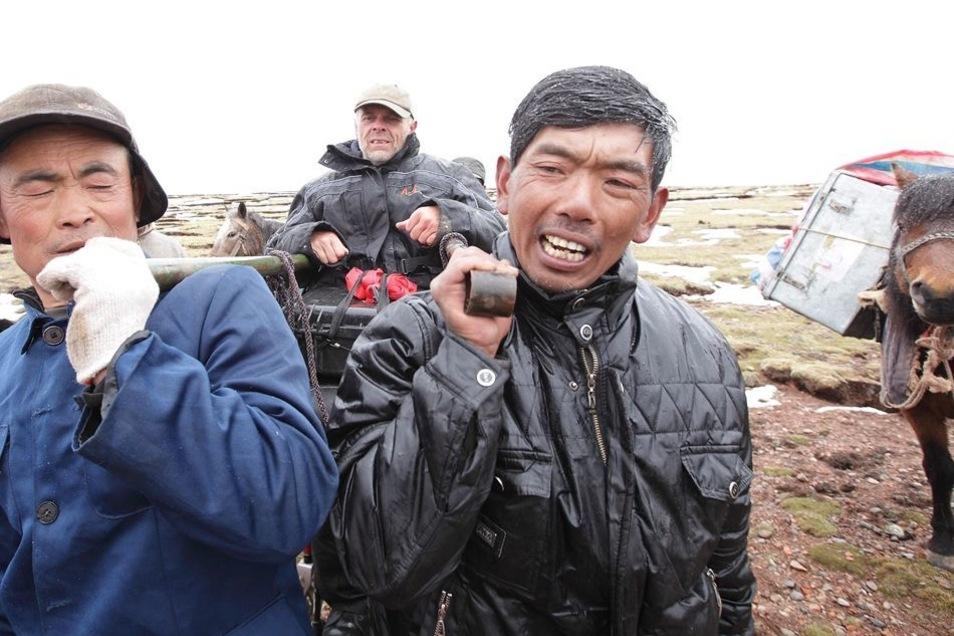 Die letzten beschwerlichen Kilometer im Himalaja wird Pröve getragen.