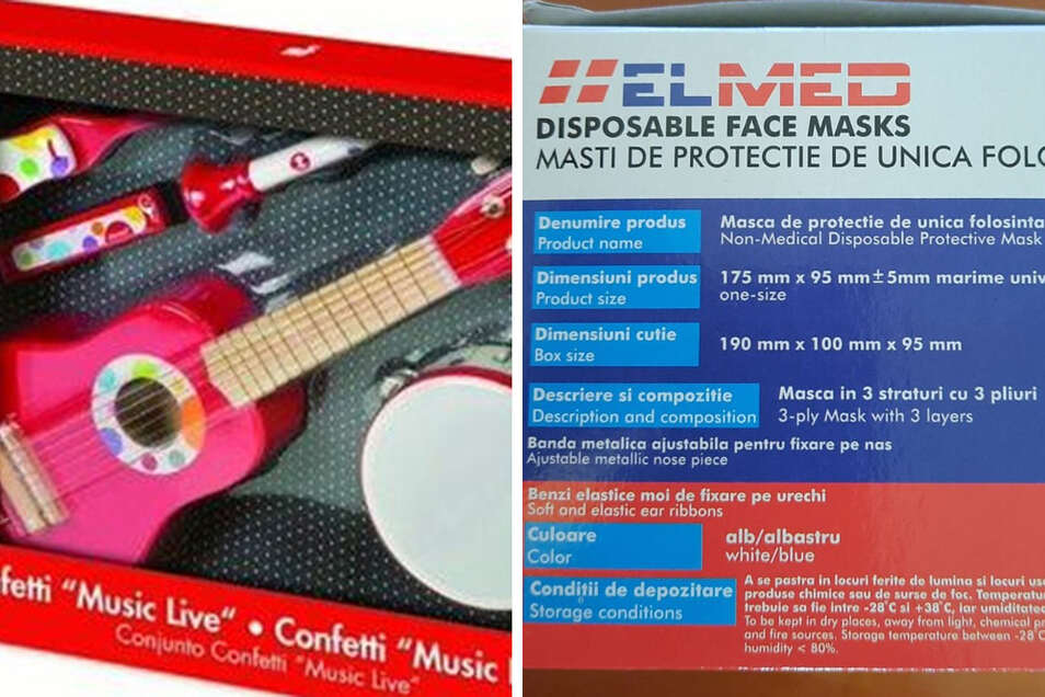 Das sind zwei Produkte, ein Kinder-Musikspiel (l) und Gesichtsmasken, vor denen sich die EU-Länder gegenseitig warnen.