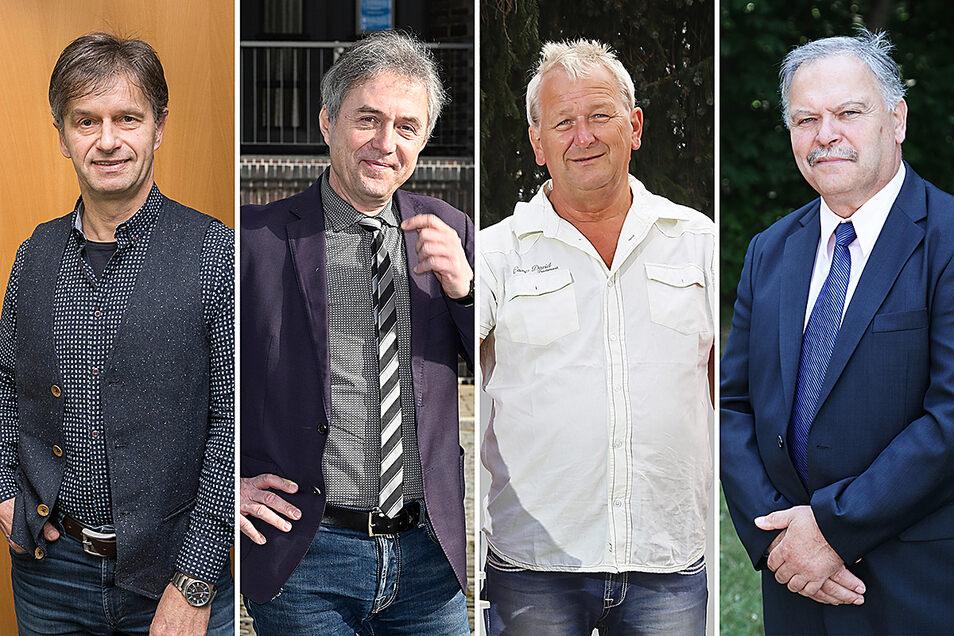 Diese Bürgermeister der Region sind nahezu gleich alt. Während sich Hannes Clauß (l.), Jochen Reinicke (2.v.l.) und Lothar Herklotz (r.) nächstes Jahr in den Ruhestand verabschieden, möchte Lutz Thiemig (2.v.r.) noch einmal kandidieren.