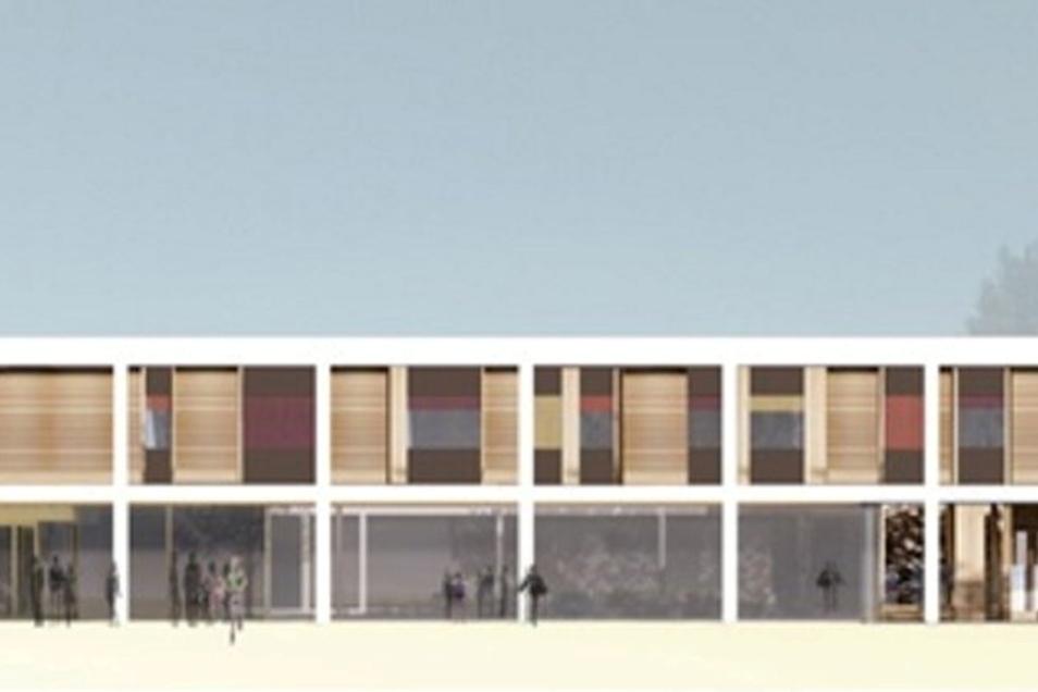 So soll die künftige Grundschule von außen aussehen. Im oberen Bereich sind die acht Klassenräume angeordnet.