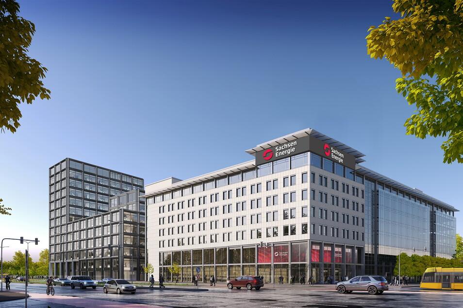 Die Visualisierung zeigt das Ensemble von Neubau und Bestandsgebäude (rechts), was die neue Hauptverwaltung der SachsenEnergie wird.