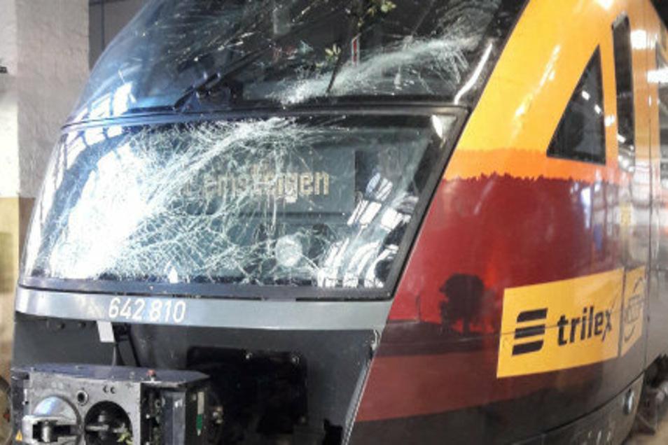 Der im Juli beim Zusammenstoß mit einem Baum beschädigte Oberlausitz-Express. Auf dem Zug der Länderbahn sind viele Zittauer Werbemotive aufgedruckt.
