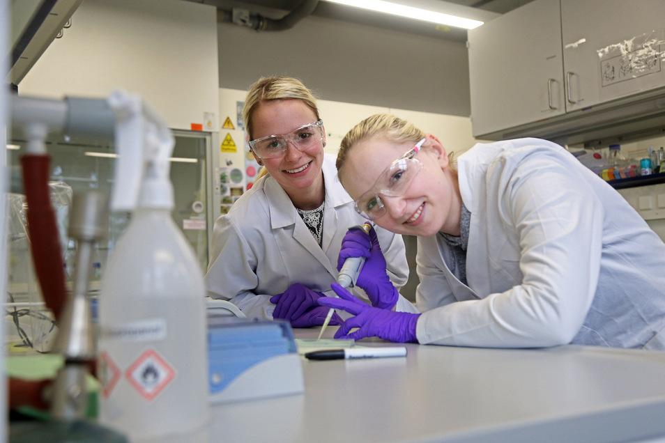 Sabrina Papperitz (l.) und Simone Arndt in einem der Laborräume in Riesa. Die beiden Frauen studieren Biotechnologie an der Studienakademie.
