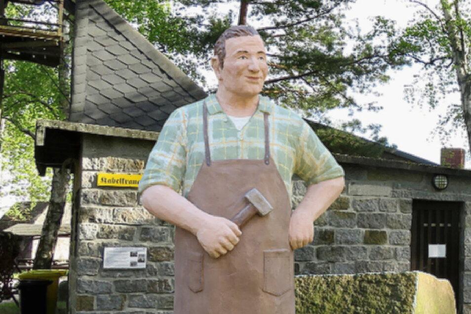 So soll die Steinarbeiterfigur am Steinbruchmuseum im Haselbachtaler Ortsteil Häslich einmal aussehen.