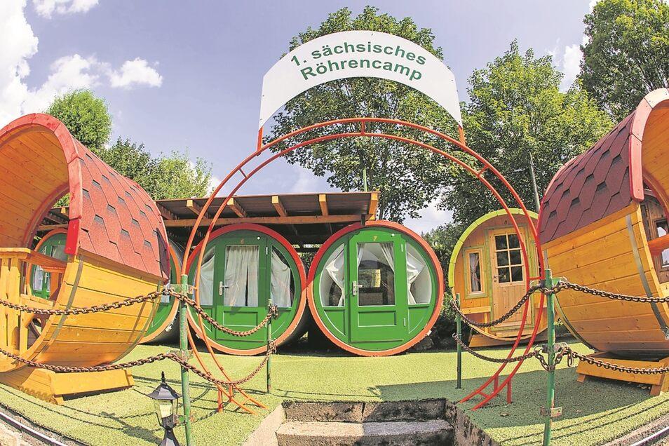 Sieben Abwasserröhren gibt es in Sachsens erstem Röhrencamp.