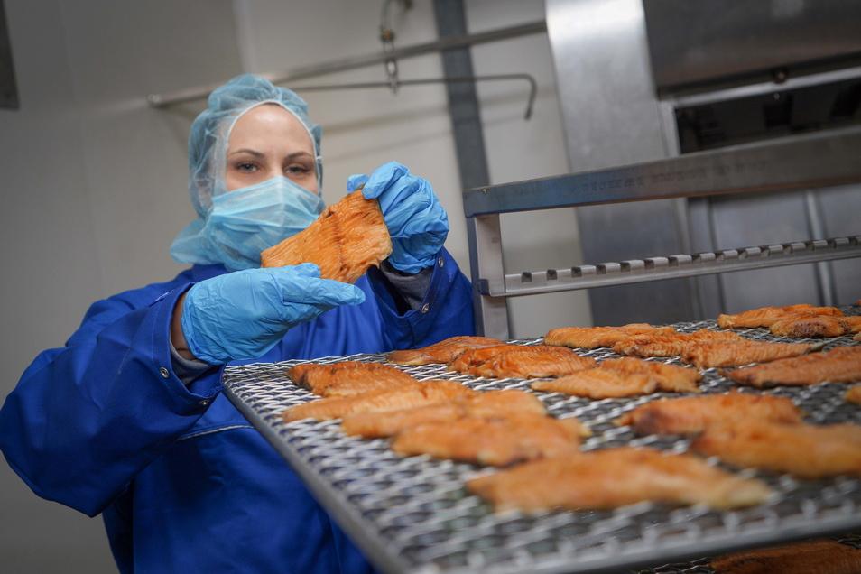 Franziska Scapan ist Technologin für den Bereich Fisch bei der Bautzener Firma Meisters. Hier begutachtet sie die ersten frisch geräucherten Karpfenfilets.