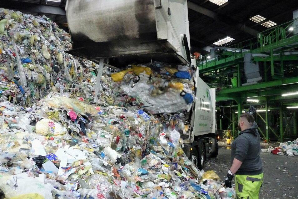 Ende des Arbeitstages: Die Müllfuhre, knapp dreieinhalb Tonnen, wird bei einem Umweltservice in Dresden abgekippt.