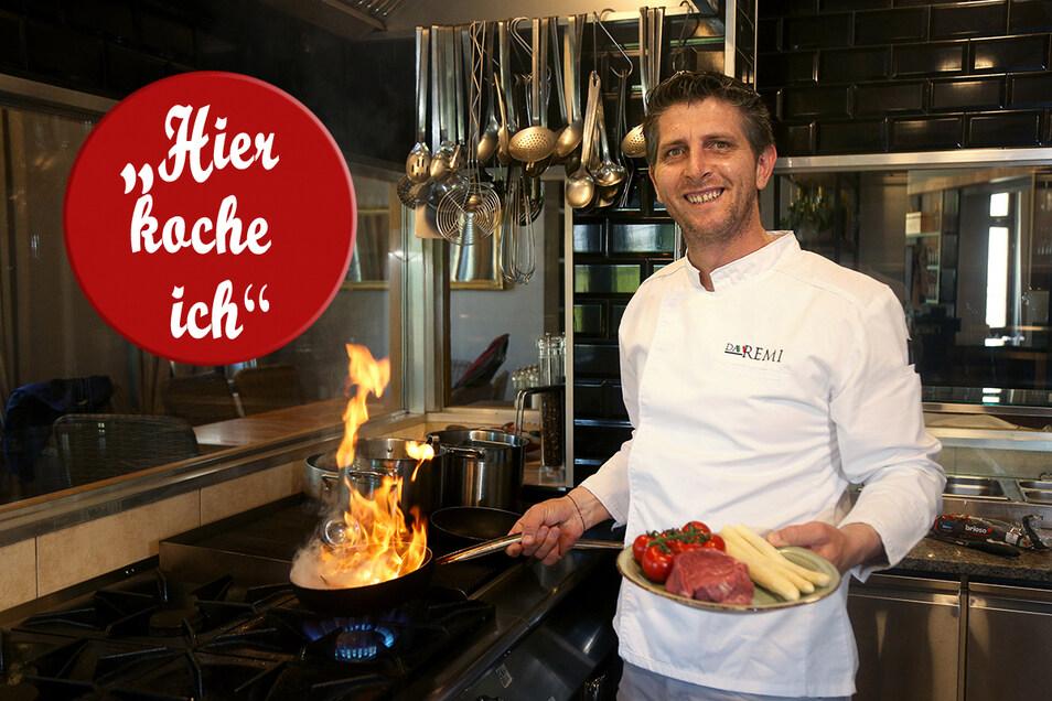 Remi Demiri in der Küche seines Restaurants Da Remi. Seit Anfang der Woche ist wieder geöffnet. Langsam läuft der Betrieb wieder an, sagt er.