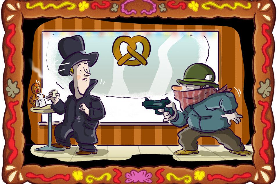 Gerade will Spätzle seine Schulden begleichen, da kommt ein bewaffneter Räuber ins Spiel.