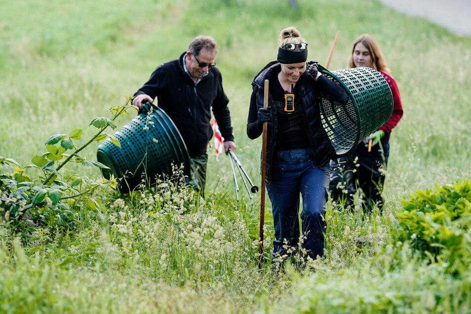 Stephie (r) und Nina (vorne), Helferinnen bei der Rehkitz-Rettung Weinheim, sowie ein weiterer Helfer gehen bei ihrer Suche nach Rehkitze durch eine Wiese.