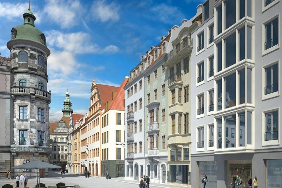 Blick auf die Fassaden (r), die das neue Quartier 7.1 am Neumarkt in Dresden zur Schlossstraße (M) hin abschließen.