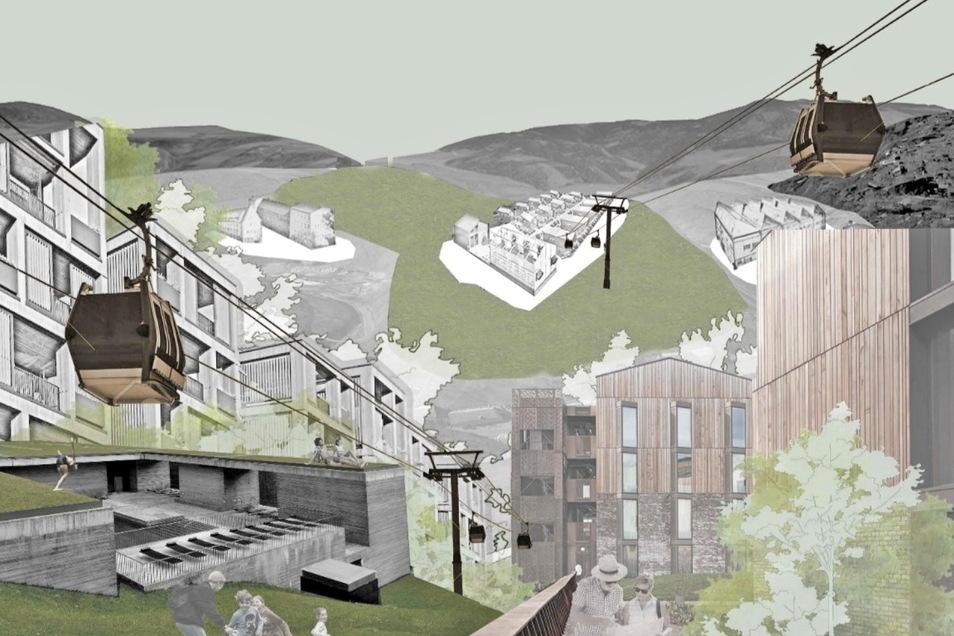 Alt- und Neustadt sollen mit einer Seilbahn verbunden werden. Diese Idee stammt von Kaspar Kleinheiz, Elena Alvaret Andres und Echeveveste Martinez.