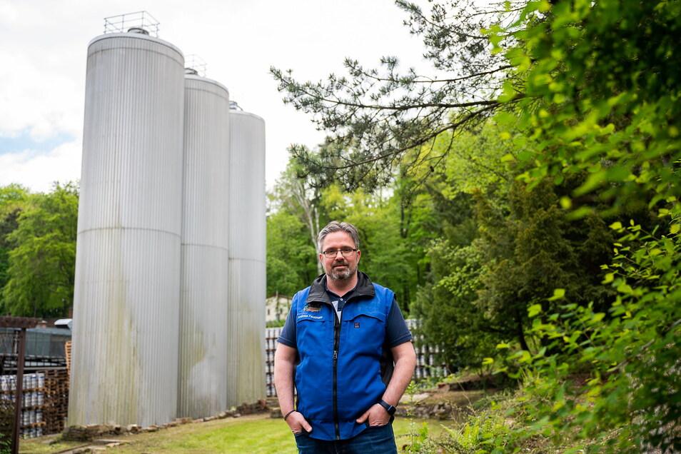 Das sind die drei bislang genutzten Zwischenlager-Tanks auf dem Gelände der Landskron Brauerei.