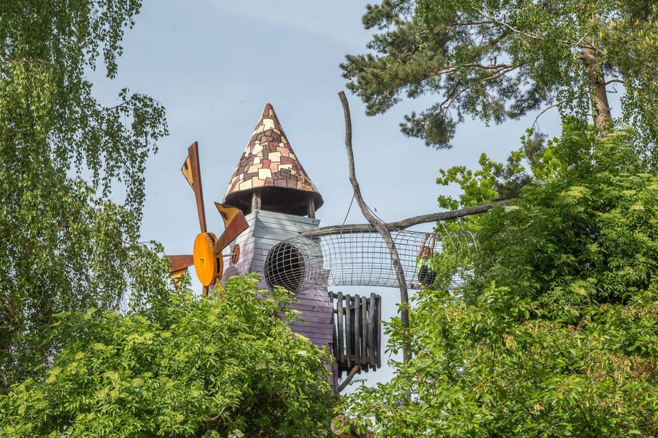 """Von Baumhaus zu Baumhaus: In der """"Geheimen Welt von Turisede"""" an der Neiße spielt sich vieles über der Erde ab. Selbst Tiere leben hier auf dem Dach."""