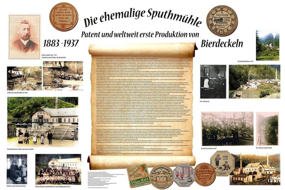 Erstmals informiert jetzt eine Tafel an den Ruinen der Sputhmühle an ihre Vergangenheit und den Erfinder des Bierdeckels.