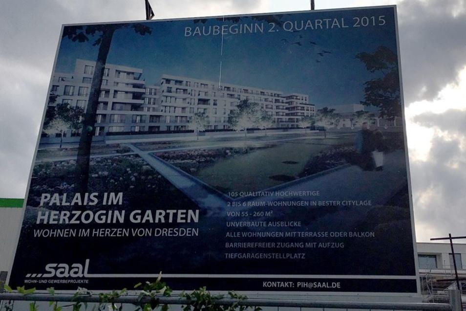 Das Palais im Herzogin Garten entpuppt sich als eine Neubauzeile nahe des Zwingers.