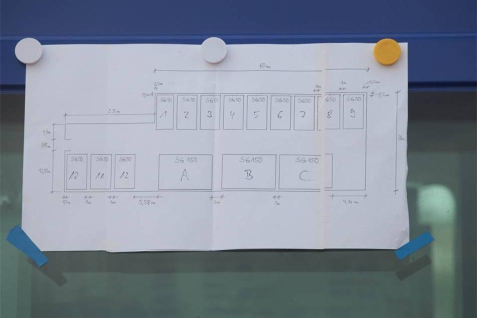 Ein Plan des Zeltlagers für Flüchtlinge.
