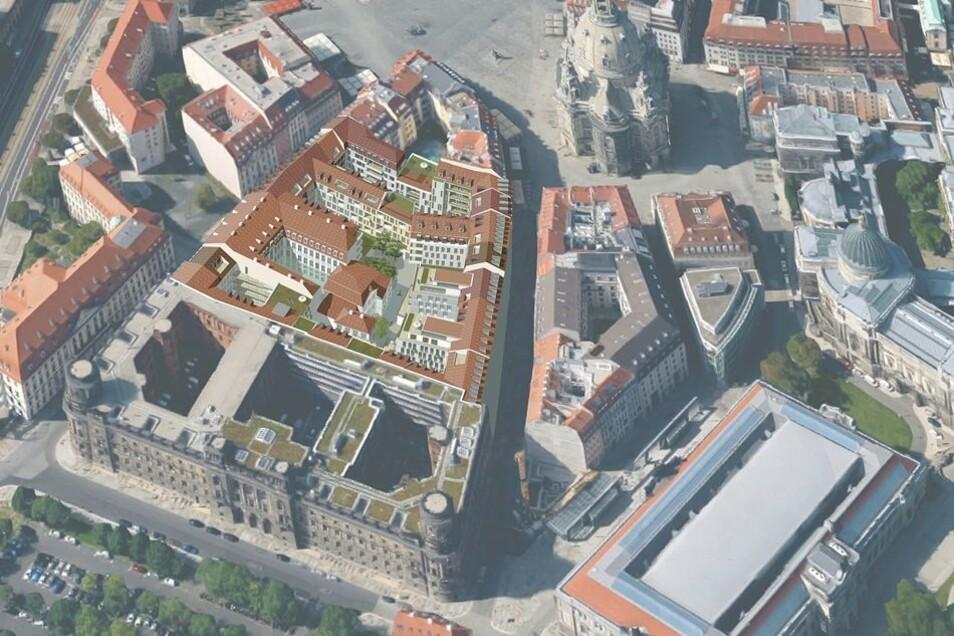 So fügt sich die Bebauung zwischen Polizeipräsidium und Frauenkirche ein.