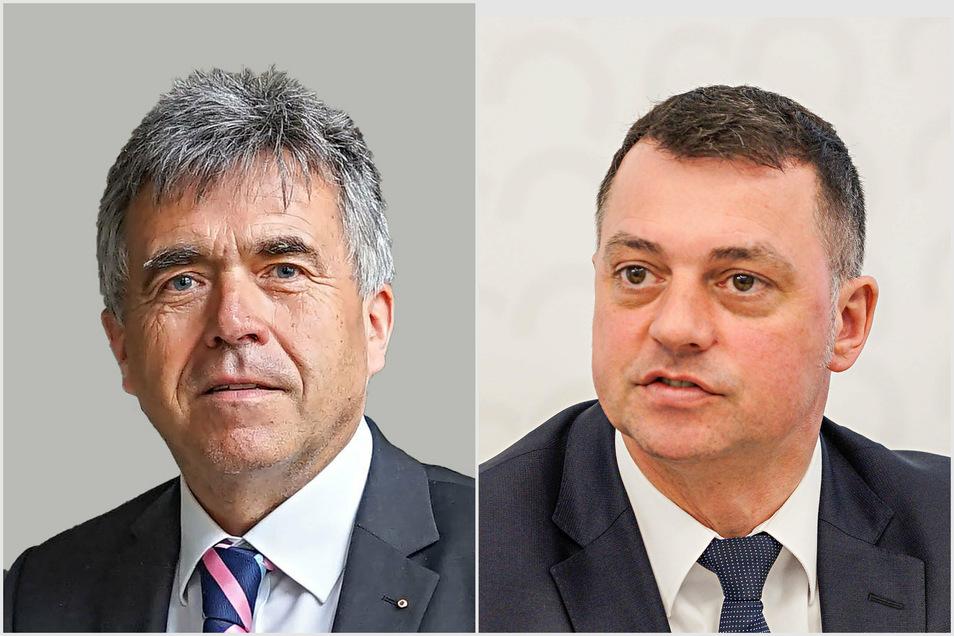 Ein ominöser Brief wirft Bautzens Landrat Michael Harig (l.) und seinem Vize Udo Witschas (beide CDU) vor, wichtige Stellen im Landratsamt bevorzugt mit CDU-Mitgliedern zu besetzen.
