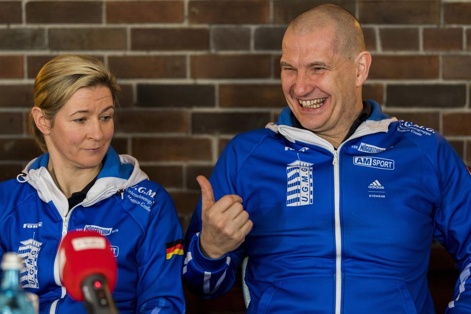 Claudia Pechstein und ihr Lebensgefährte Matthias Große, den die Eisschnellläuferin für einen geeigneten Verbandspräsidenten hält.