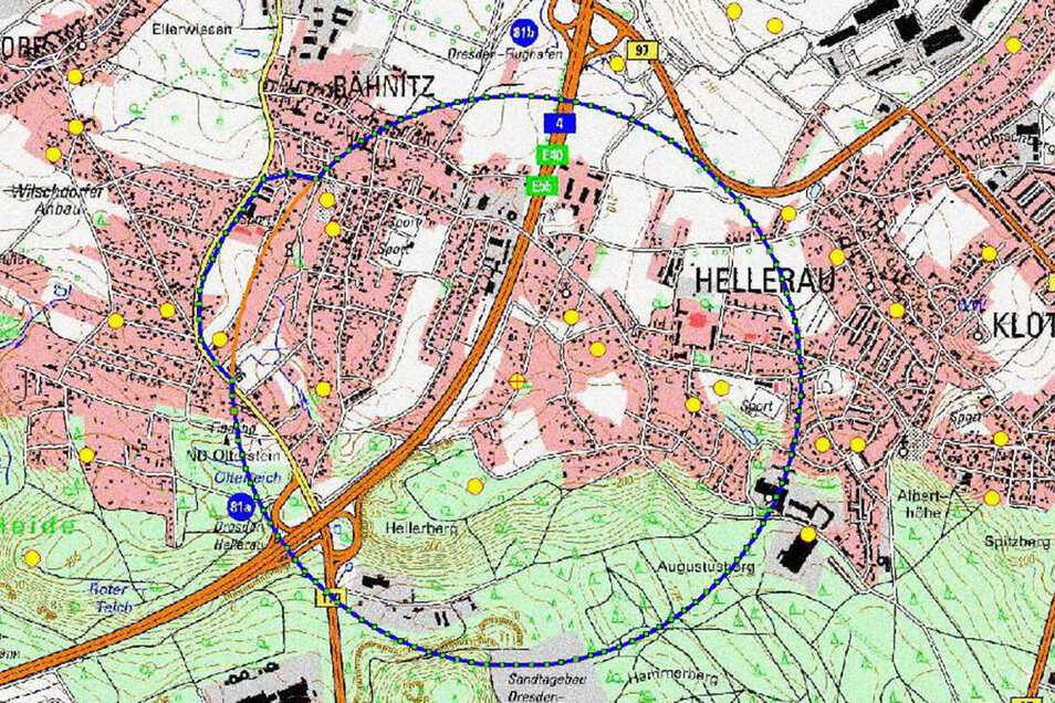 Das Sperrgebiet umfasst weite Teile des Stadtteils Hellerau.