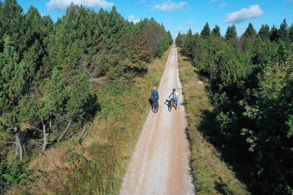 Testfahrt auf der neuen Blockline: Mountainbiker Tino Weinberg (r.) und SZ-Reporter Jörg Stock passieren die Schneise 30, die zum Aussichtspunkt auf dem Kahleberg bei Altenberg führt.