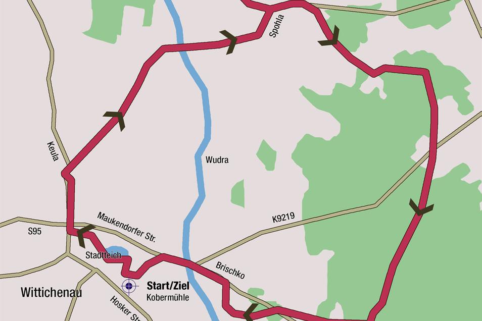 Die Mühlentour ist ein fast perfekter Kreis – mit Start und Ziel an der Kobermühle in Wittichenau. Die Runde ist etwas mehr als elf Kilometer lang.